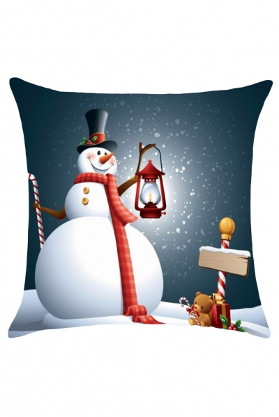 Christmas Snowman Print Cushion Cover