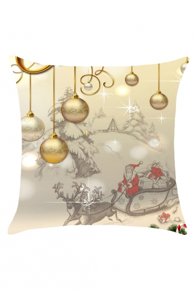 Christmas Balls Pattern Linen Throw Pillow Case