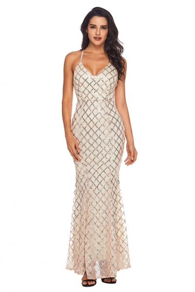 Pink Gold Sequins Crisscross Maxi Evening Dress