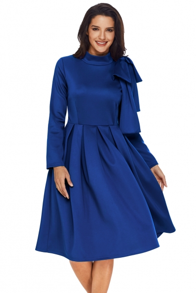 Royal Blue Bowknot Embellished Mock Neck Pocket Dress