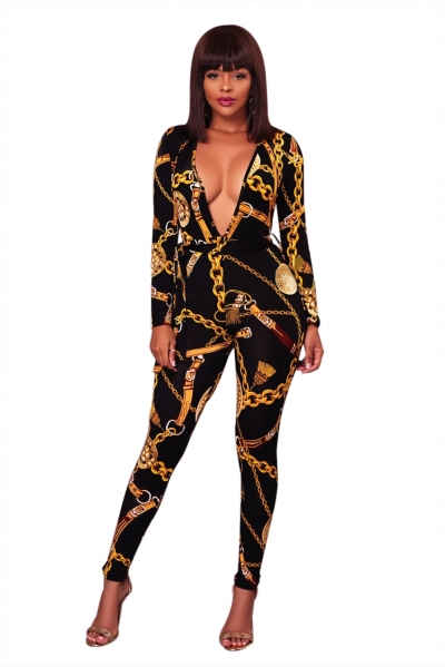 Black Sexy Deep V Neck Gold Chain Print Skinny Jumpsuit