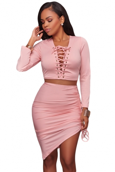 Pink Lace Up Long Sleeve Crop Top Skirt Set