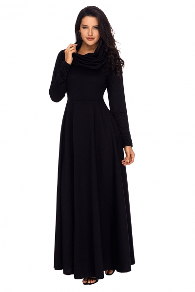 Black Cow Neck Long Sleeve Maxi Dress