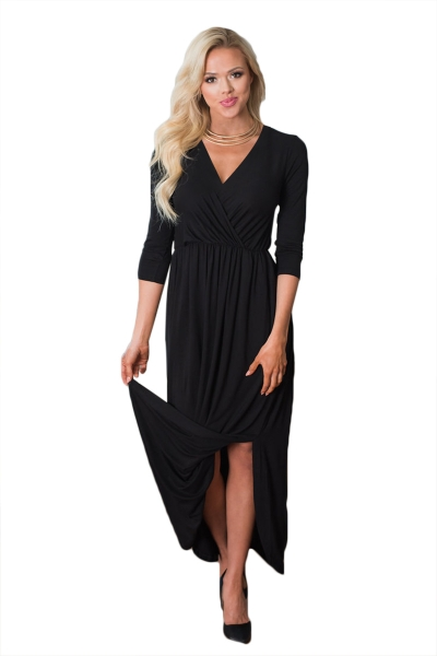 Black Surplice Neck High Waist Pleated Pocket Maxi Dress