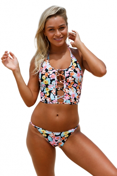 Floral Lace up Crop Top Bikini Swimsuit