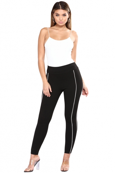 Contrast Piping Trim Black Sports Leggings