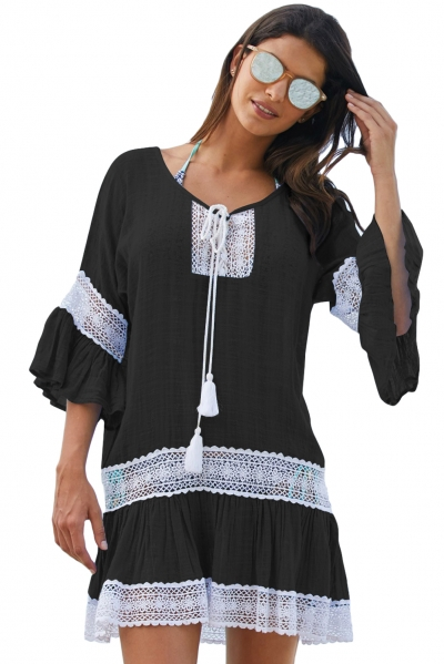 Black Loose Beach Kaftan with Crochet Insert