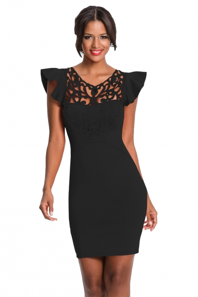 Black Ruffle Sleeves Lace Hollow Out Short Cocktail Dress