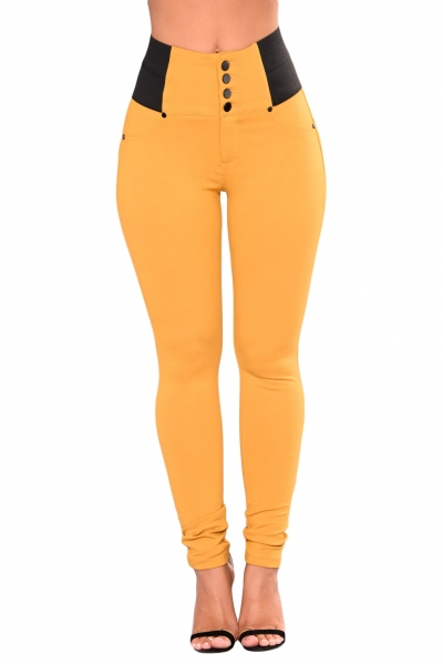Mustard Buttoned Empire Waist Patched Leggings