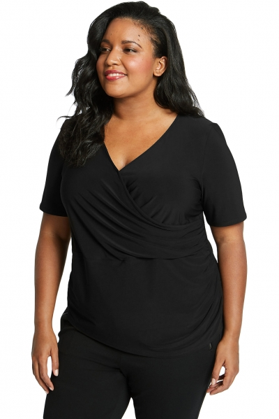 Black Short Sleeve Wrap Ruched Plus Size Top