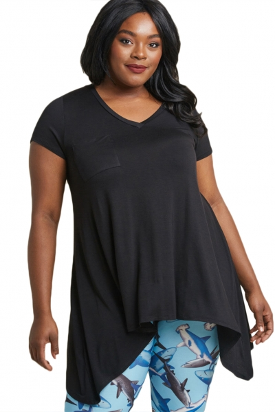 Black Casual Long Flowy Plus Size Tunic