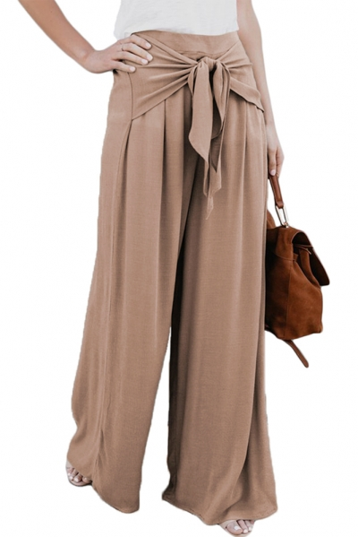 Walk The Walk Tie Palazzo Pants in Khaki