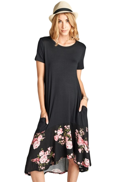 Black Hi-low Floral Ruffle Hem Midi Dress