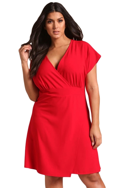 Red Plus Size Deep V Surplice Flared Dress