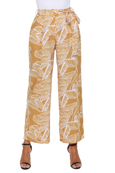White Leaf Vein Print Mustard Wide Leg Pants