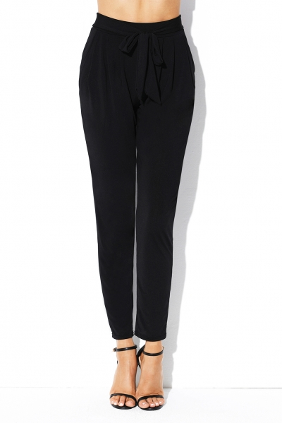 Black Casual High Waist Belted Harem Pants