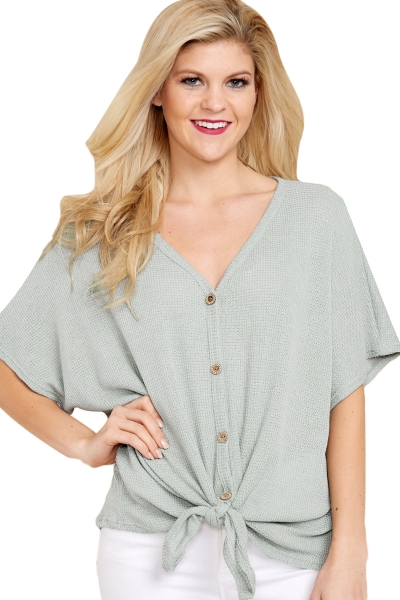 Dark Green Dolman Buttoned Front Top with Tie