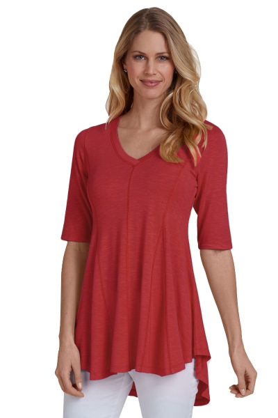 Red Half Sleeve V Neck A-Line Top