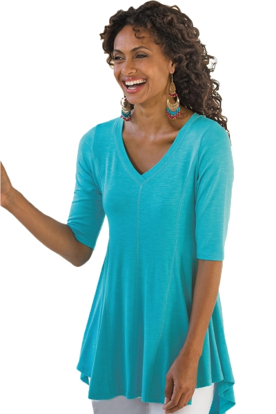 Turquoise Half Sleeve V Neck A-Line Top