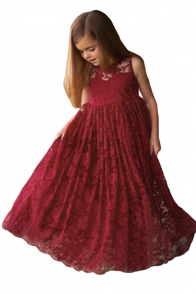 Burgundy Sleeveless Rose Lace Flower Girl Dress