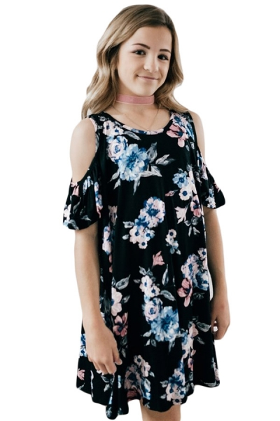 Black Floral Cold Shoulder Tunic Dress