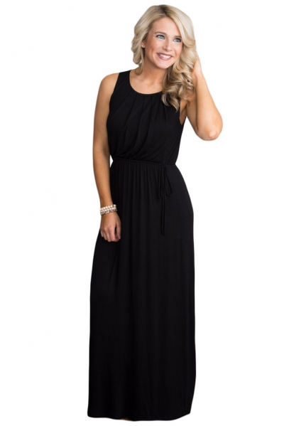 Black Empire Waist Sleeveless Maxi Jersey Dress