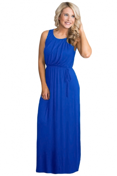 Royal Blue Empire Waist Sleeveless Maxi Jersey Dress