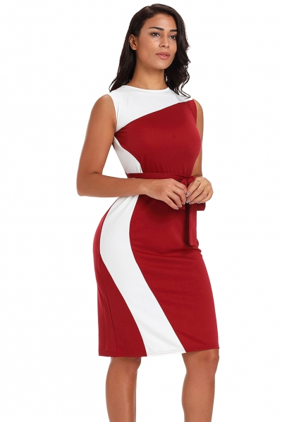 Asymmetric Burgundy White Patchwork Belted Sheath Dress
