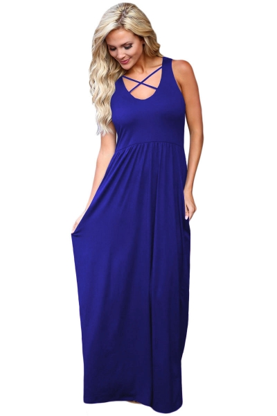 Royal Blue Crisscross Neck Detail Sleeveless Maxi Dress