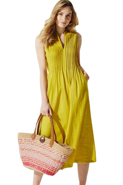 Yellow V Neck Pleated Sleeveless Dress
