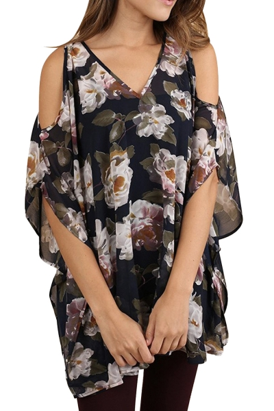 Black Floral V-Neck Tunic