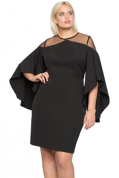 Black Mesh Illusion Cold Shoulder Plus Size Dress