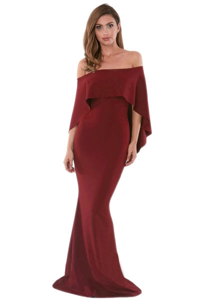 Burgundy Off Shoulder Poncho Gown Mermaid Dress