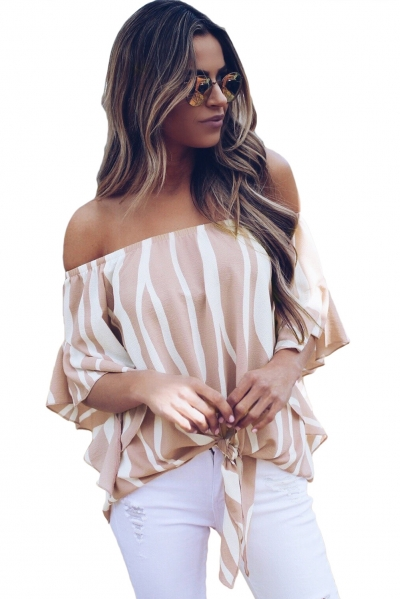 Off The Shoulder Vertical Stripes Blouse in Pink