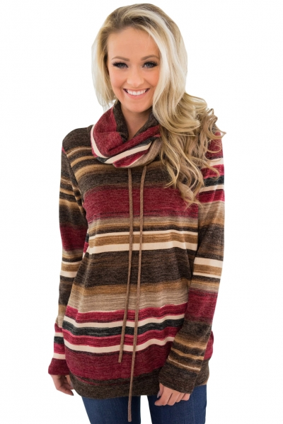 Red Multicolor Cowl Neck Striped Long Sleeve Top