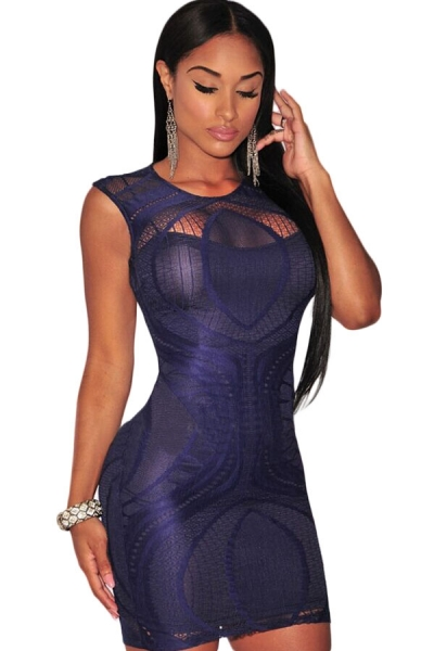 Sapphire Optical Lace Nude Illusion Sleeveless Bodycon Dress