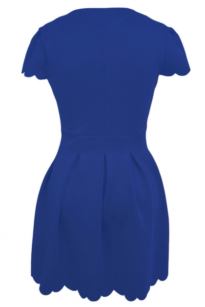 Blue Sweet Scallop Pleated Skater Dress zekela.com