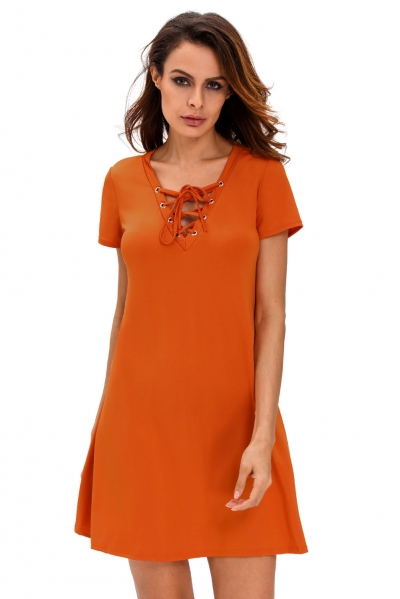 Orange Casual Lace-up Swing Dress zekela.com