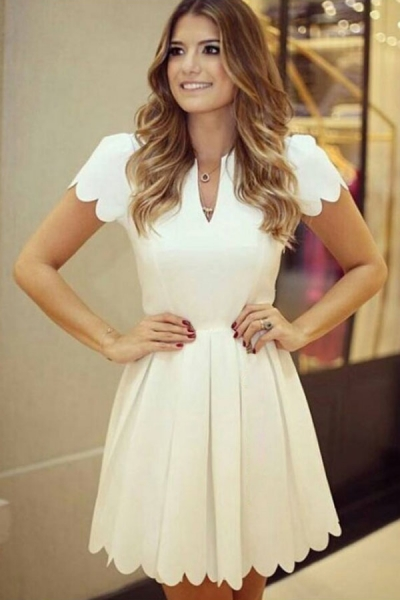 White Sweet Scallop Pleated Skater Dress zekela.com