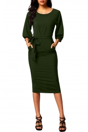 Army Green Puff Sleeve Belt Chiffon Pencil Dress