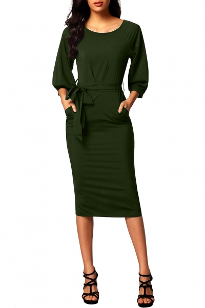 Army Green Puff Sleeve Belt Chiffon Pencil Dress ZEKELA.com