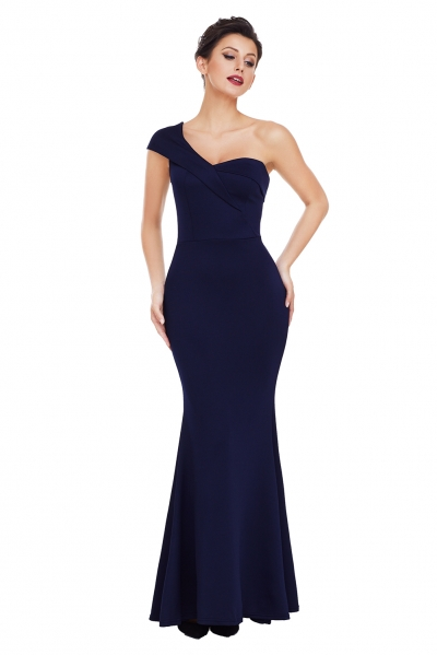 Navy Blue Sexy One Shoulder Ponti Gown zekela.com