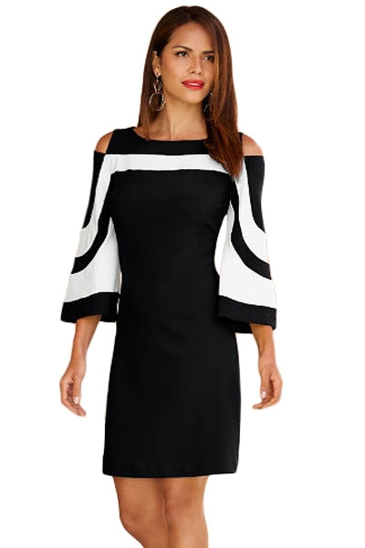 Black White Colorblock Dress