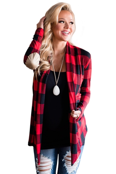 Red Suede Elbow Patch Long Sleeve Plaid Cardigan