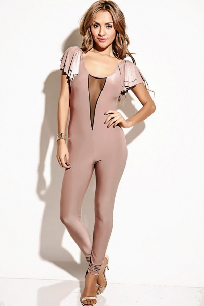 Mocha Mesh Inset Flutter Sleeve Backless Party Catsuit