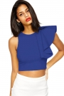 royal-blue-one-shoulder-ruffle-crop-top
