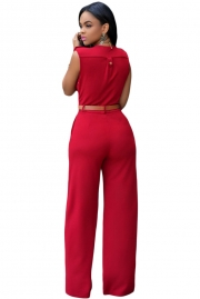 Red V Neck Belt Embellished Jumpsuit