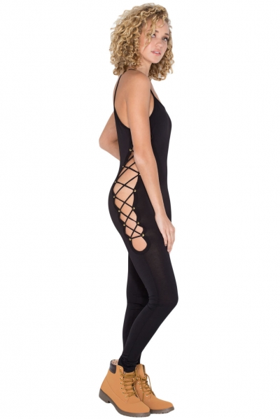 Black Reveal Assets Lace-up Jumpsuit