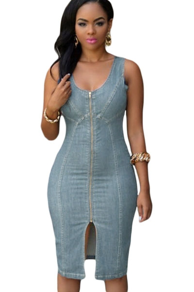 Faddish Light Blue Denim Gold Zipper Front Midi Dress