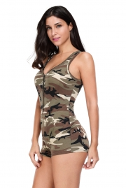 Sexy V-neck Sleeveless Camouflage Romper Shorts Bodysuit